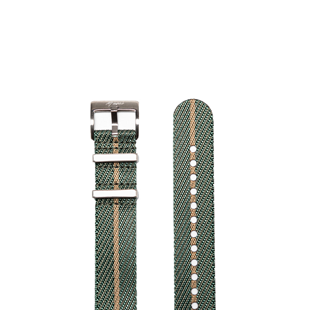 Green & Gold Woven NATO Strap - Mushiwatchstraps