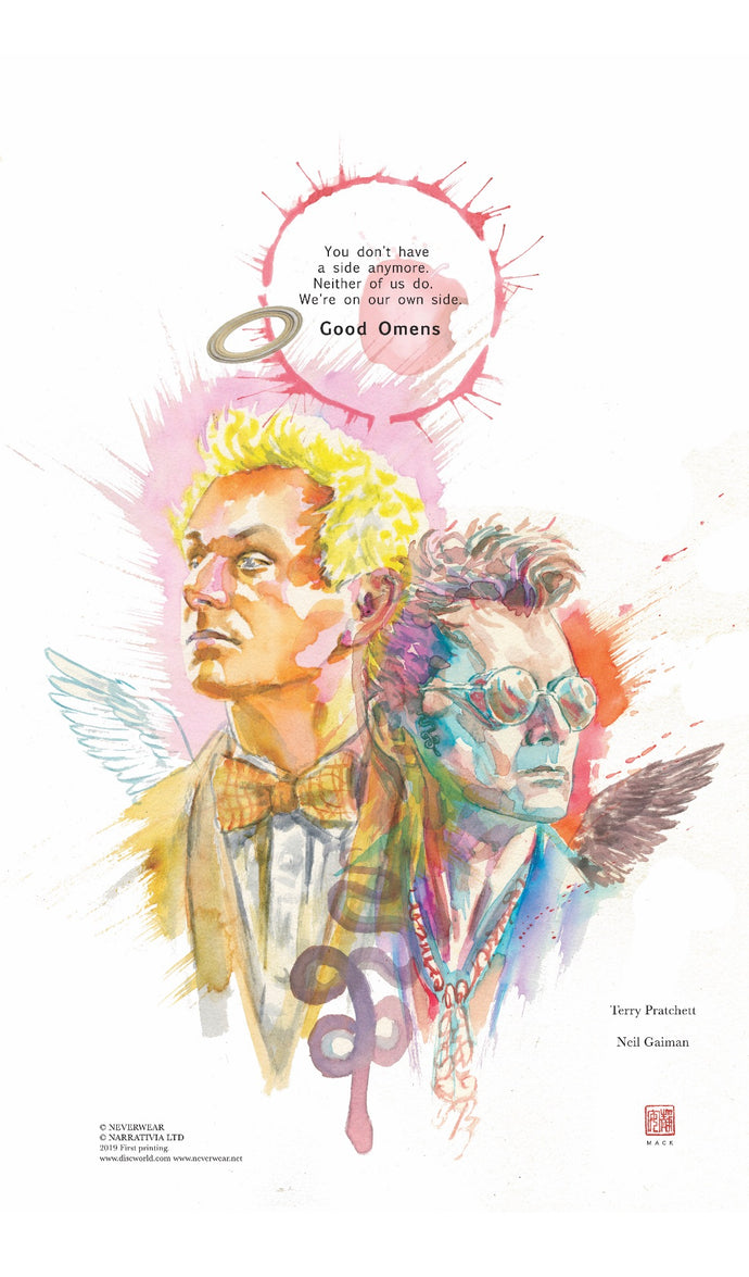 OFFICIAL GOOD OMENS PRINT by David Mack! Presale priced all weekend-