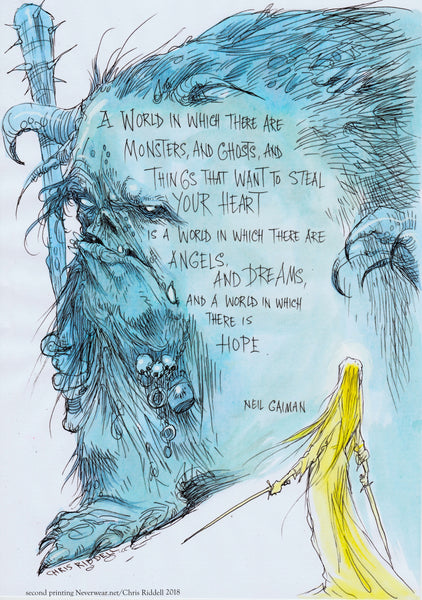 BRAND NEW! Second printing of Chris Riddell & Neil's HOPE print! Limited edition