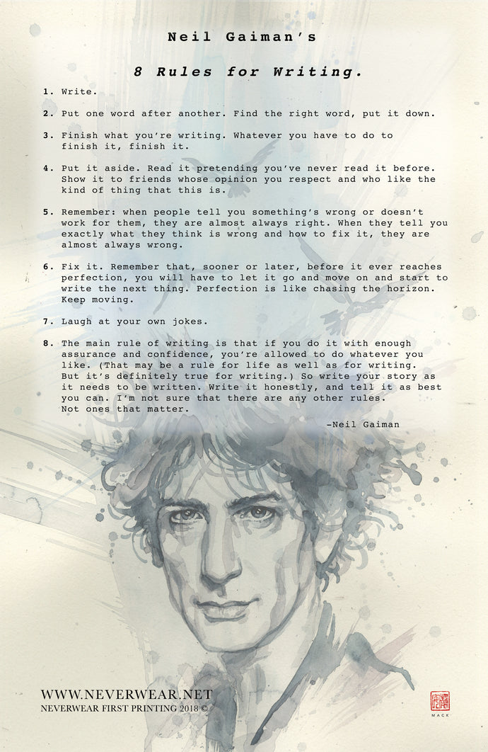 BRAND NEW!! David Mack illustrates Neil's 8 Rules for Writing. (pre-sale!)