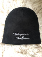 """Make Good Art"" knit & embroidered hat"