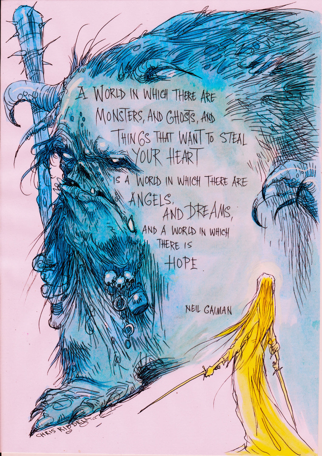 SOLD OUT!! Chris Riddell illustrates Neil's words on HOPE: limited edition print VERY FEW LEFT!!