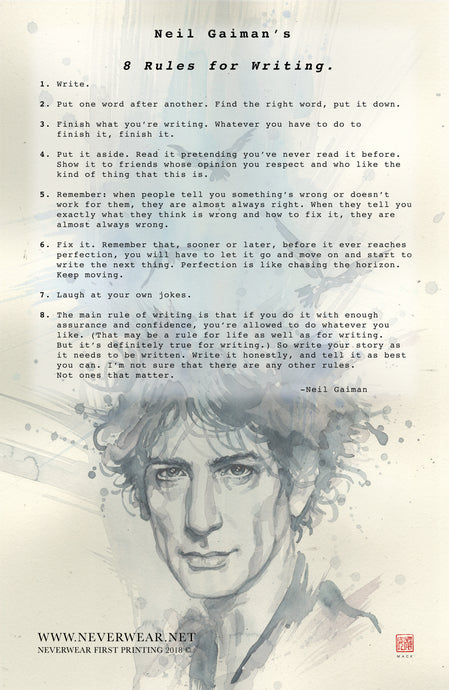 BRAND NEW!!!! Neil Gaiman's 8 Rules for Writing by David Mack