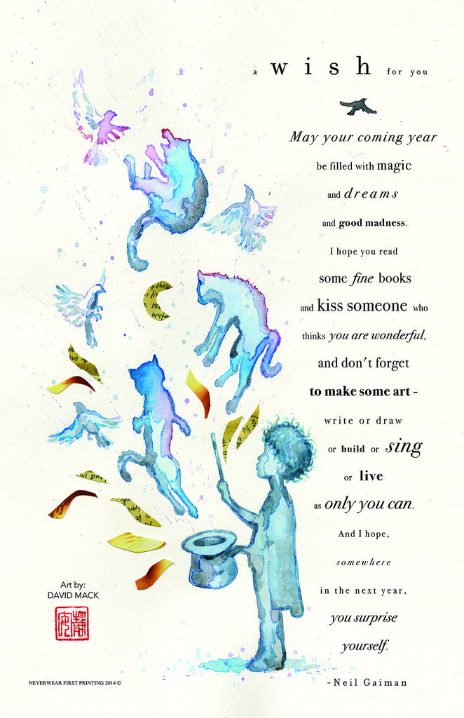 Neil Gaiman New Year Quotes: Neil's New Year's Wish Limited Edition Print By David Mack