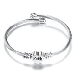"Gratuity Gift ""Faith"" Stainless Steel Charm Bangle"