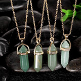 1.00 Natural Green Natural Stone Necklace in 18K Gold Plated