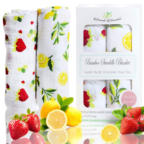 Set of 2 Bamboo Muslin Swaddle Blanket Strawberry Lemon