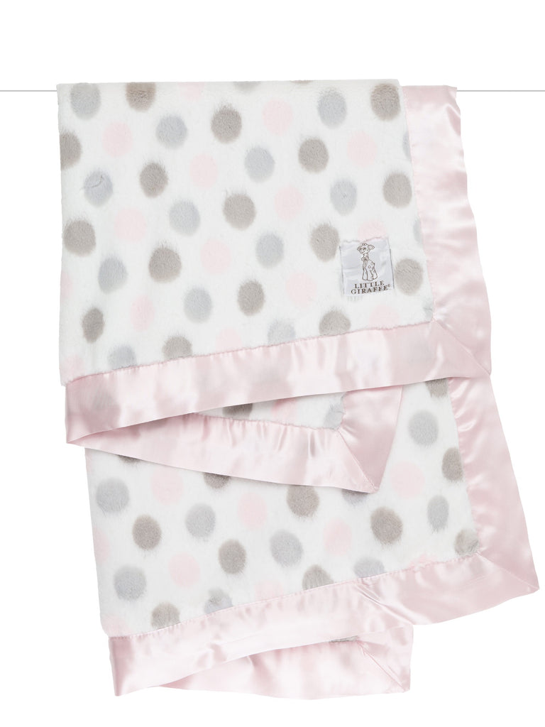 Little Giraffe Luxe Dot Blanket ~ Pink