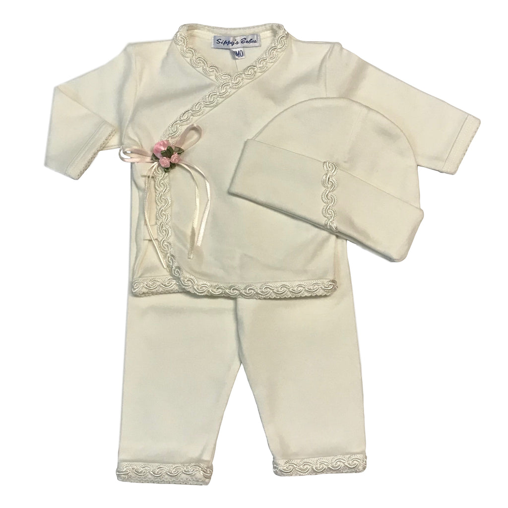 Sippy's Babes 3 Piece Set ~ Ivory w/ Ivory Embroiderd Trim and Rose Buds