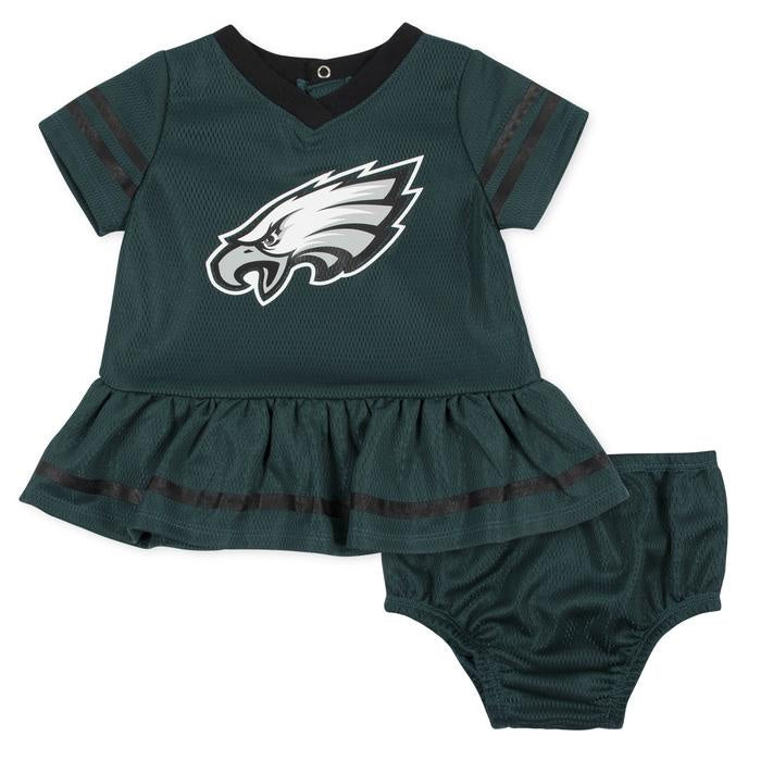 Eagles Cheerleader Dress & Diaper Cover