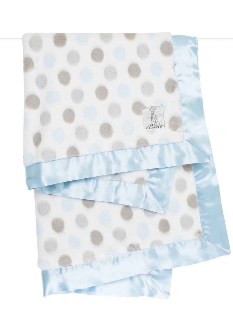 Little Giraffe Luxe Dot Blanket ~ Blue