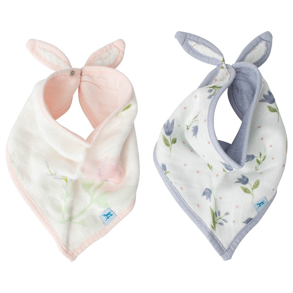 Little Unicorn Deluxe Bandana Bib- 2 Pack ~ Pink Peony