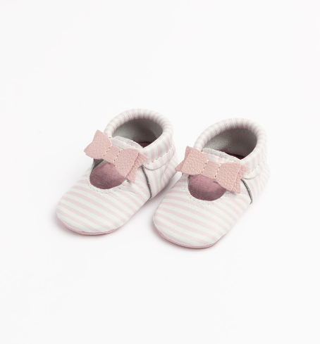Freshly Picked Mini Sole Ballet Flat Bow Mocc ~ Pink Stripe