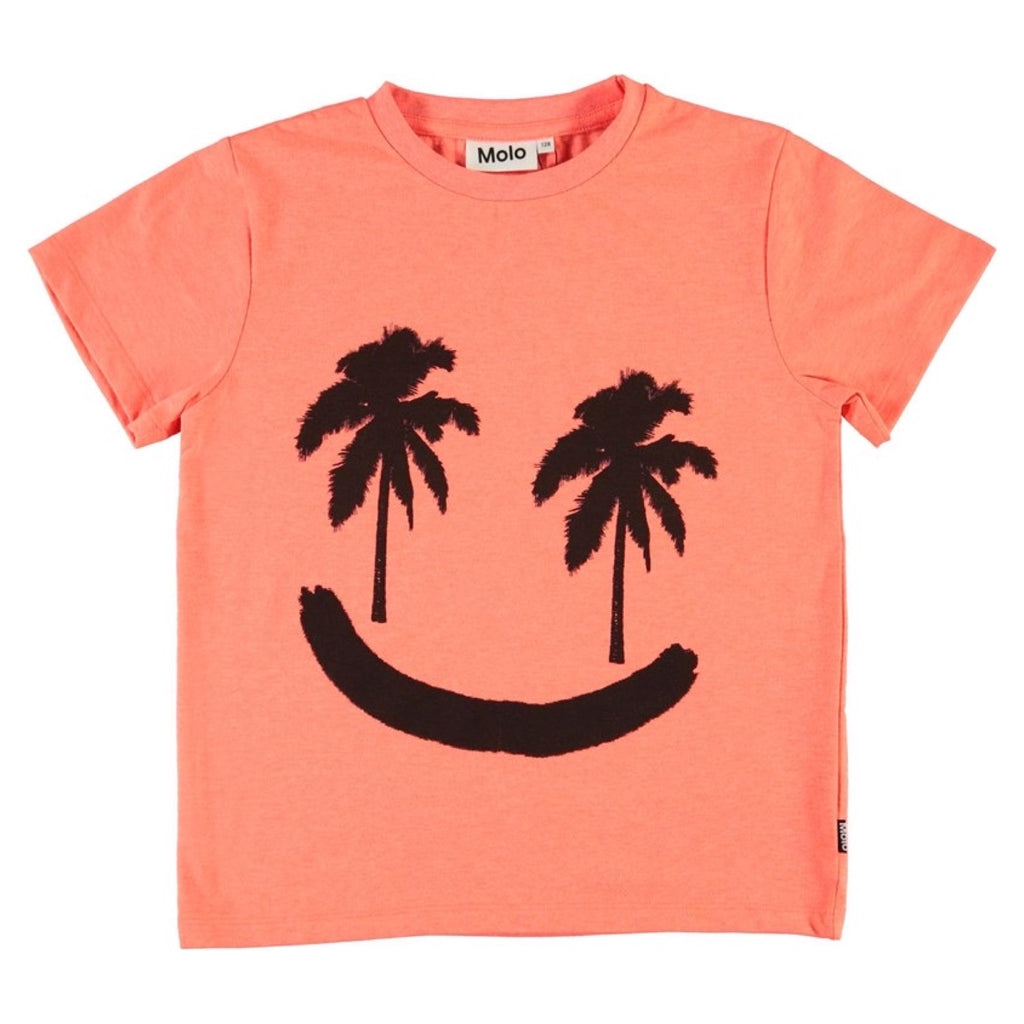 Molo Boys Rame Short Sleeve T-Shirt ~ Neon Coral