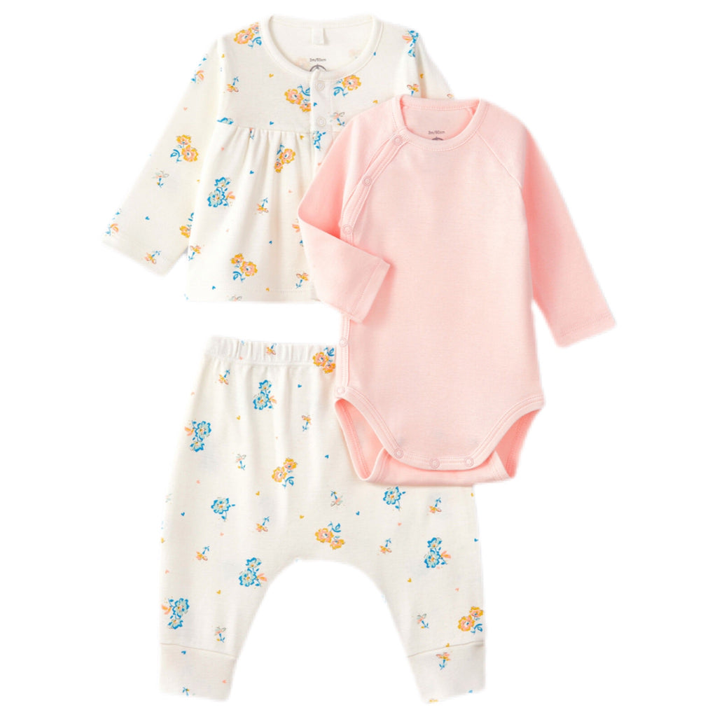 Petit Bateau Baby 3pc Set Printed Jacket and Bodysuit ~ White & Pink Multi