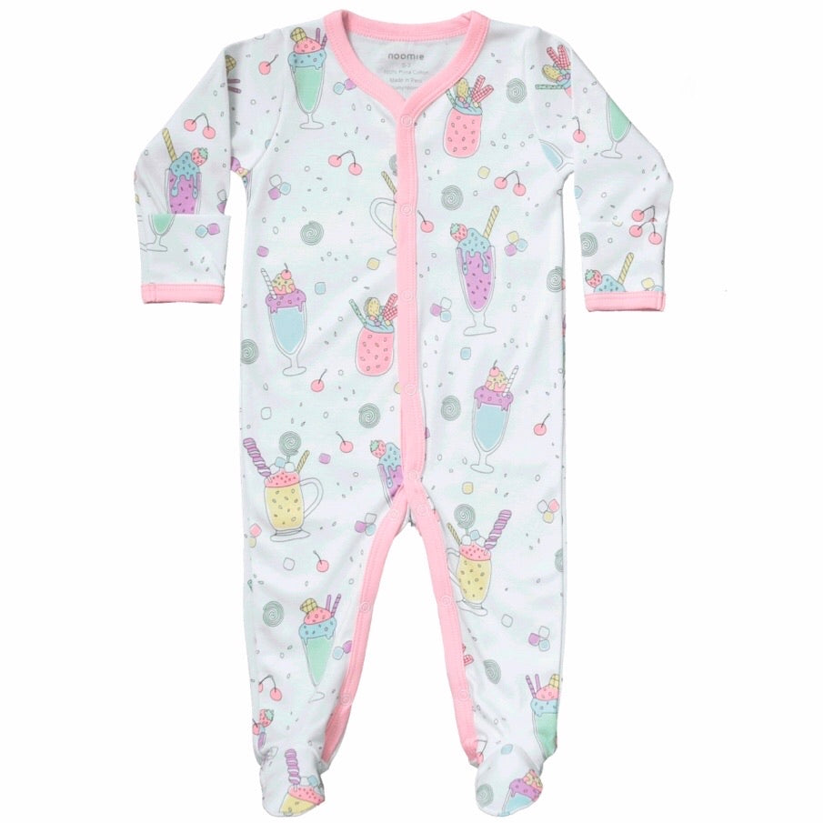 Noomie Print Snap Footie ~ Milkshake on White