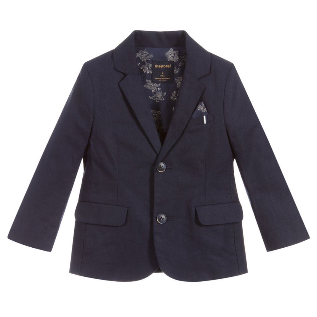 Mayoral Boys Tailored Linen Blazer ~ Navy