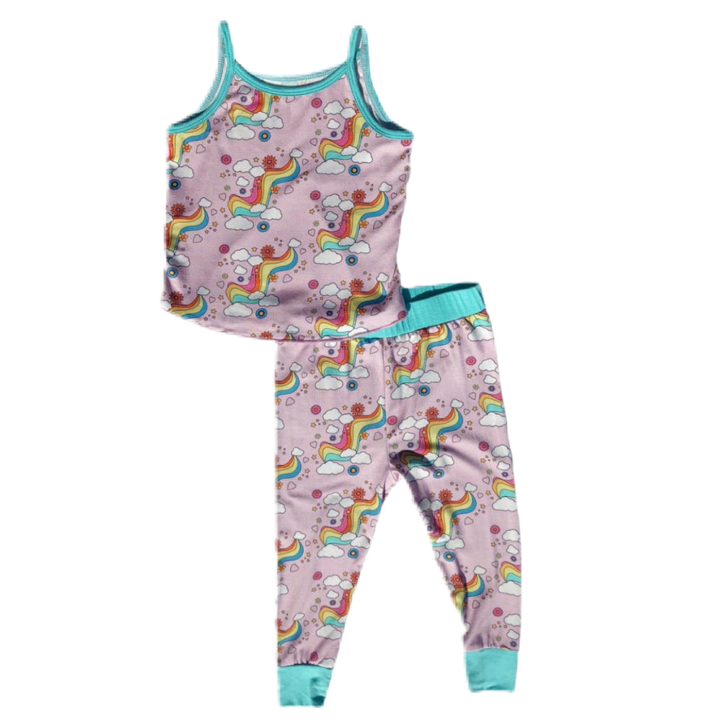 Rowdy Sprout Bamboo Tank PJ Set ~ Rainbow Love SP20