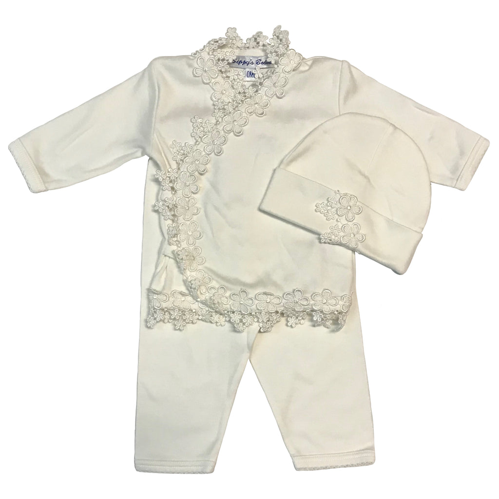 Sippy's Babes 3 Piece Set ~ Ivory w/ Ivory Embroidered Floral Trim