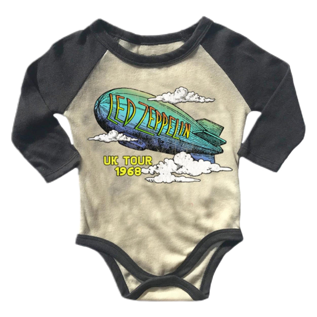 Rowdy Sprout LED Zeppelin Raglan Onesie ~ Cream & Off Black