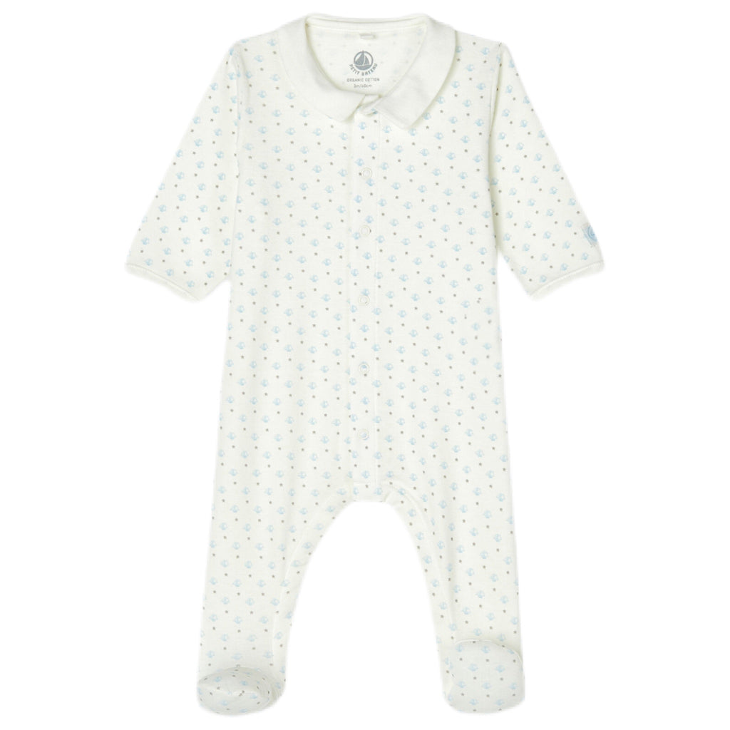 Petit Bateau Baby Boy Footie w/ Collar ~ White & Blue