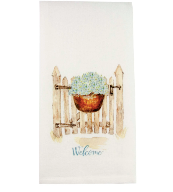Hydrangea Welcome Dishtowel