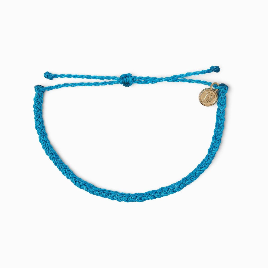 Pura Vida Solid Mini Braided Bracelet- Neon Blue