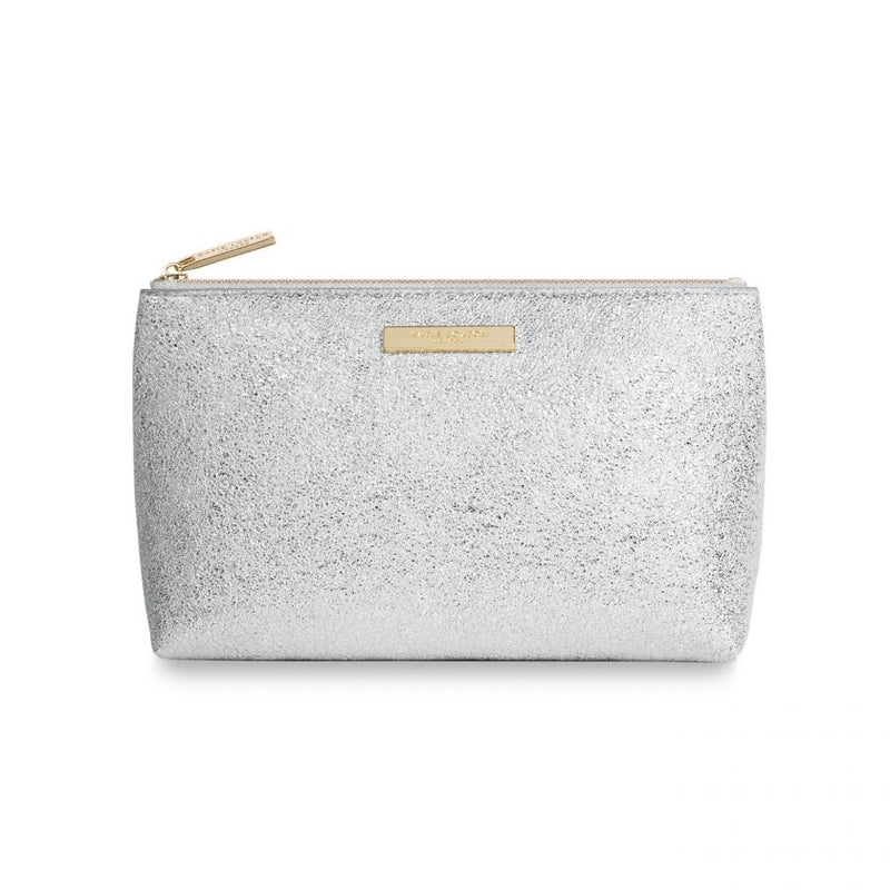 Katie Loxton Mia Makeup Bag in Metallic Silver