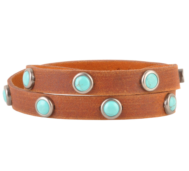 Turquoise Leather Wrap Bracelet