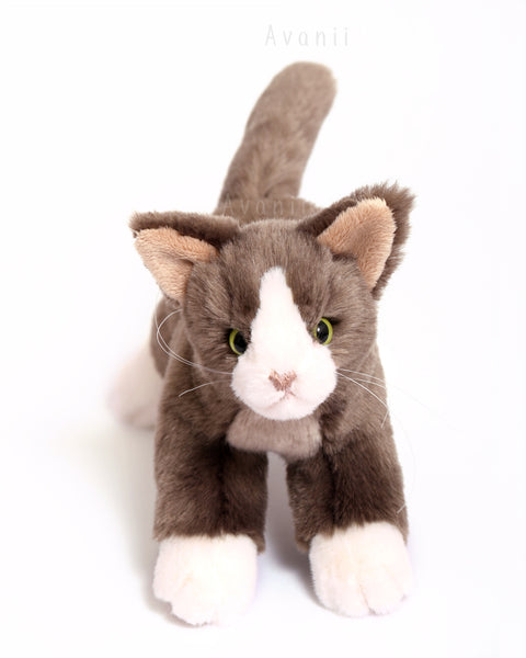 Tuxedo Cat - Handmade plush animal - realistic faux fur