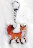 Royal Beasts: Fox - Red and Cross Foxes - Acrylic Charm - 2 inch double sided keychain