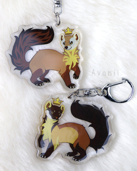 Royal Beasts: Marten - American pine and yellow-throated martens - Acrylic Charm - 2 inch double sided keychain