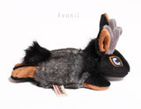 Black and Tan Jackalope / Horned Rabbit - small floppy - handmade plush animal