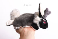 Shadow Jackalope / Horned Rabbit 2 - small floppy - handmade plush animal