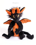 Halloween Demon / Devil - handmade fantasy plush - minky miniature