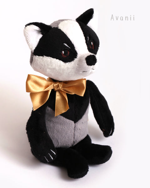 Badger Companion - handmade plush animal - minky miniature