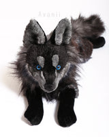 Midnight Sky Wolf - Large handmade plush animal - realistic faux fur