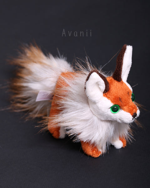 Russet Fall Foxling - handmade plush animal - minky miniature