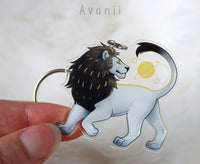 Celestial White Lion - Acrylic Charm - 2 inch double sided keychain