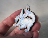 Eeveelution Glaceon / Ice Fox - Wooden Charm - 1,5 inch keychain