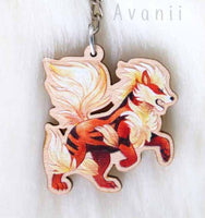 Arcanine/Fire Dog - Wooden Charm - 1,5 inch keychain