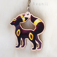 Eeveelution Umbreon / Dark Fox - Wooden Charm - 1,5 inch keychain