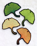 Ginkgo Leaf - Embroidered Iron-on Patch