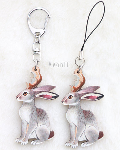 Jackalope / Horned Rabbit - Wooden Charm - 2 inch keychain