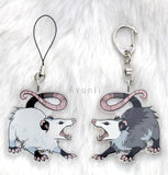 Screaming Opossum - Acrylic Charm - 2 inch double sided keychain