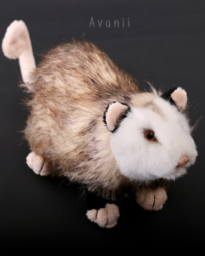 Opossum - Handmade plush animal - realistic faux fur