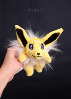Jolteon - Yellow electric fox - Minky beanie plush