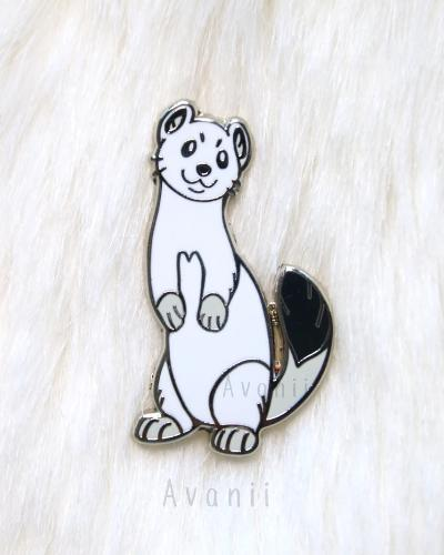 Ermine White Winter Weasel Hard Enamel Pin