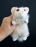 Albino Ferret - small floppy - handmade plush animal