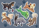 PokePuppy Dogs Inspired Sticker Sheet A6